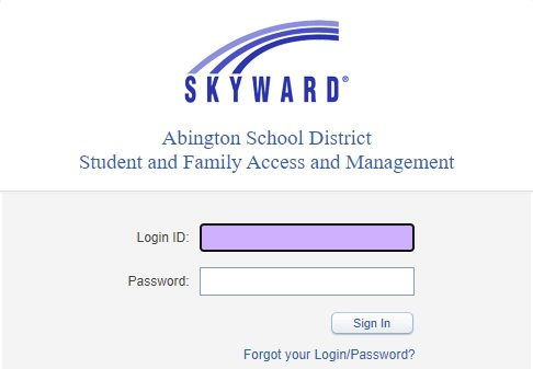 Skyward Login Screen