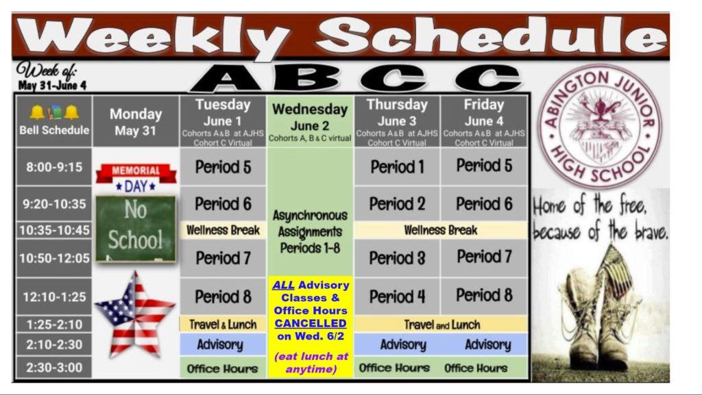 Schedule 2021-05-31
