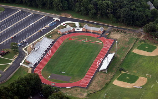 Aerial view of the newly constructed Stephen A. Schwarzman Stadium