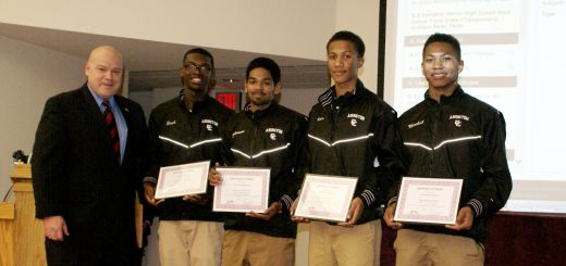 Number 1 in the State! – Abington Senior High School Boys Indoor Track Championship 4×400 Meter Relay Team Honored by Abington School Board