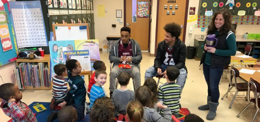 """At Overlook, Abington Varsity Football Players and Cheerleaders Encourage Reading with Unique """"Reading Super Bowl"""""""