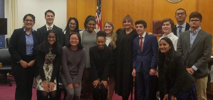 Mock Trial Team with Judge and Methacton Team