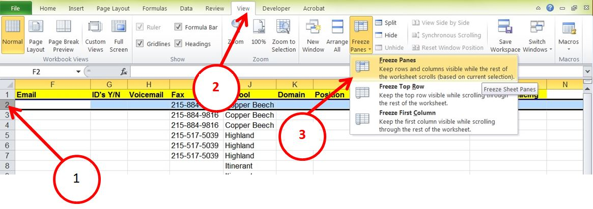 Freeze and split panes in ms excel tech savvy excel freeze rows for website ccuart Gallery