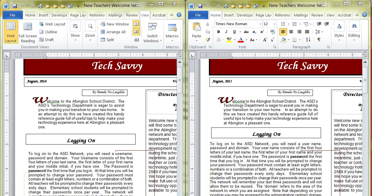 Side By Side And Synchronous Scrolling In Word Tech Savvy