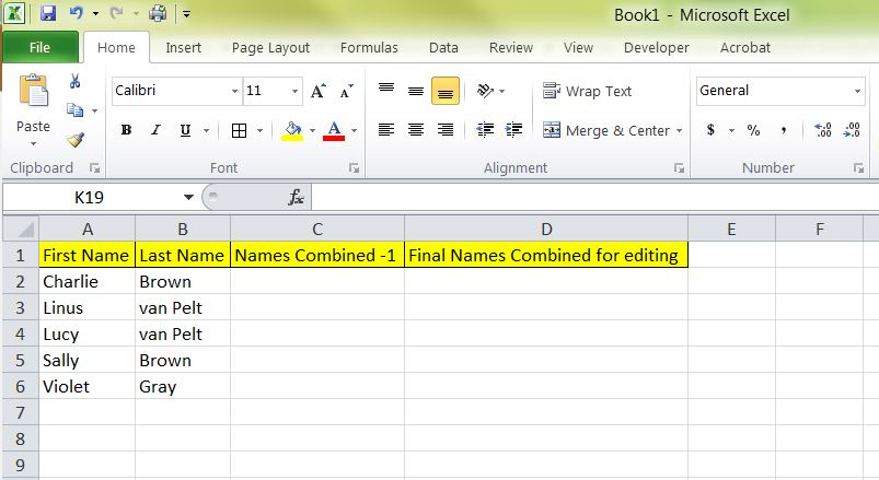 Use Concatenate to Combine Names in MS Excel | Tech Savvy